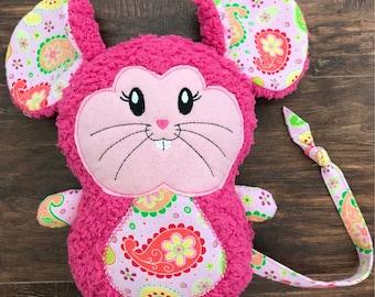 Pink Stuffed Valentine's Mouse, Stuffed Animal Mouse, Plush Stuffed Mouse, Mouse Toy, Mouse Stuffie, Mouse Lovie