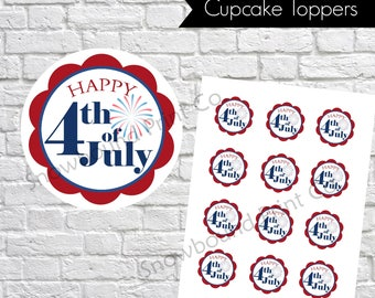 Red, White and Blue 4th of July Cupcake Toppers, Printable fourth of july Cupcake Picks, 4th of july printable, 4th of july gift tags