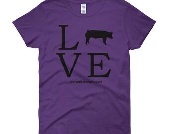 Pig Shirt, Livestock Show, FFA, 4H, Love Swine (Black) Women's short sleeve t-shirt