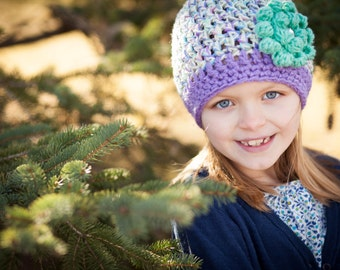 Crochet Baby Hats for Girls - Newborn Beanie with Flower - Crochet Infant Hat - Baby Girl - Purple - Newborn Size - Sparkle