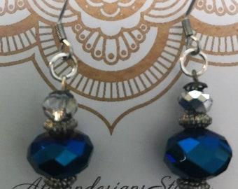 Royal blue faceted crystal rondelle earrings