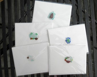 Five Pack of Lake Erie Beach Glass Note Cards