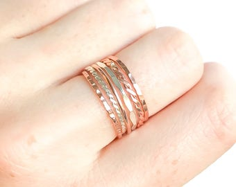 Thin Stacking Rings Rose Gold and Sterling Silver- Set of 6, Rose Gold Filled Rings