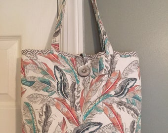Feather Print Tote
