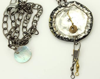 Dystopian Reclaimed Jewelry-Found Object Necklace-Upcycled Jewelry-Mike's Hard Lemonade Beer Bottle Cap-Unique Mixed Metal Jewelry