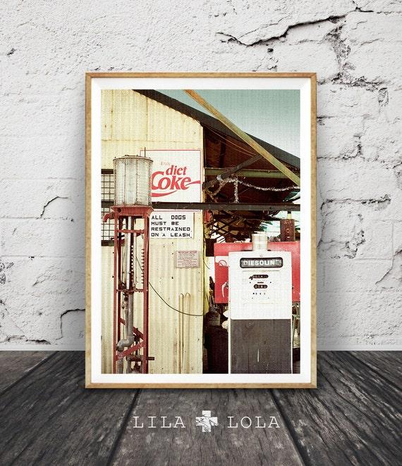 Desert Photography, Retro Coke Sign, Vintage Petrol Pump, Outback Australia, Western Decor, Arizona, Large Poster, Instant Digital Download