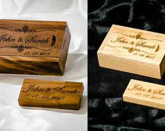 Personalised Gift Wooden USB Stick  16GB 32 GB+Box Laser engraved Wedding Photographer, Wedding Photography, Client's package, Unique Custom