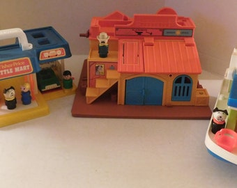 3 vintage Fisher Price little people sets Western Town House Boat Mini Mart