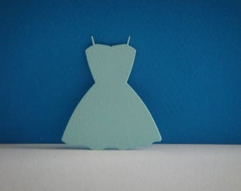 Cut light blue dress for scrapbooking and card