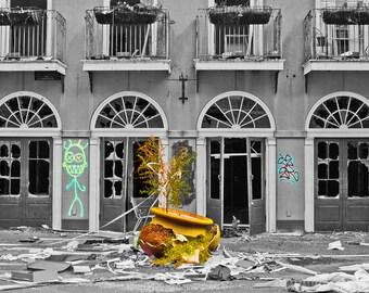 "Abandoned Six Flags - Photo Art Print - ""PUMMELED PLANTER"""