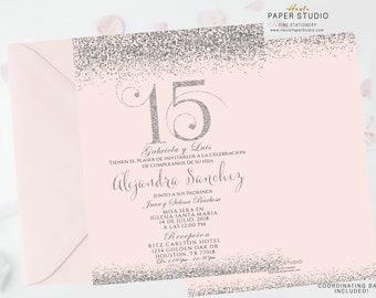 Silver Quinceanera, Sweet 16 Invite, Quinceanera Invite, Quince Invitation, Silver Invitation, Glitter Invitation, Confetti Invite, BDQ094