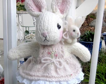 Stuffed Bunny Doll, Hand Knit, and Bunny's Doll Toy, Needle Felted,/ Heirloom Collectible, OOAK/ Esme's First Spring!