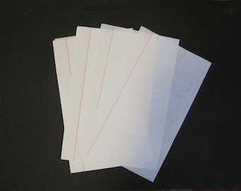 Red Ruled Onionskin Typewriter Paper - 8-1/2  x 14 -  40 sheets - 25% cotton - Watermarked ~ Onion Skin