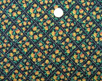 Vintage 50s BIAS FOR ROSES Cotton Fabric // 5 yards 2 ins. long X 36 ins. wide