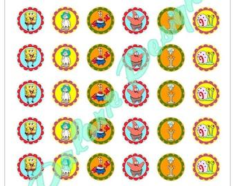 Plate 25 mm, Sponge Bob, Collage, Digital images - SpongeBob - for round cabochons 25 mm