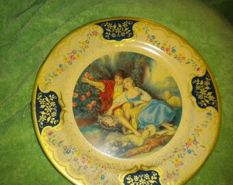 Vintage Tin Victorian scene Plate,collectable,french,Baret Ware,home decor,french country