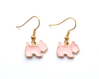 Pink Dog Earrings in Gold, Scottie Dog, Gold Earrings, Choose Gold Plated, Surgical or Gold Filled Wires, also in White, Black or Blue