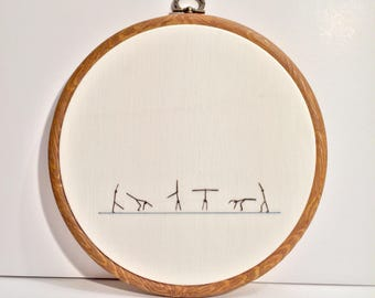 Cartwheel Instructional Gymnastics Diagram Handsewn 7 inch Embroidery Hoop