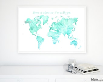 World map quote etsy custom quote color size printable world map watercolor world map quote map custom diy travel pinboard map custom map printable map033 gumiabroncs Choice Image