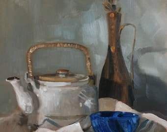 Tea Kettle and Blue Glass by Maria Laurendi