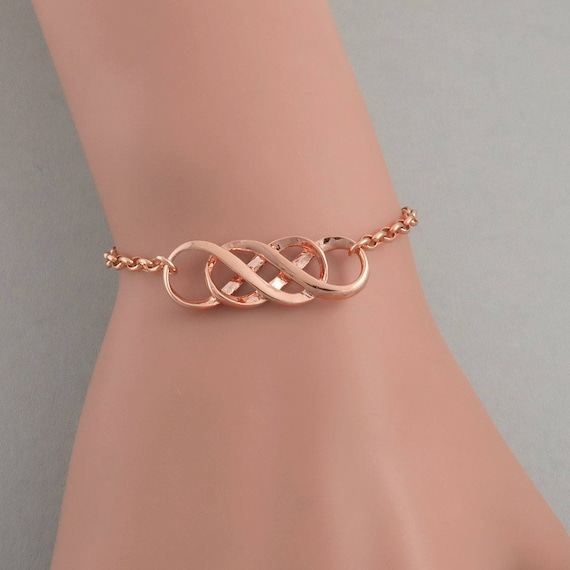 Rose Gold Double Infinity Symbol Bracelet Celtic Symbol