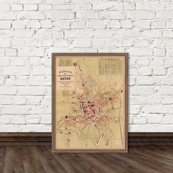Brno map Old map of Brno Fine print