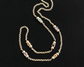 14K Gold Long/Over Head Gem Stone Necklace
