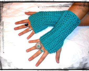 Jade Fingerless Gloves. boho Handmade Crochet Shorty Simple Arm Warmers Texting Gloves Victorian Style Bohochic