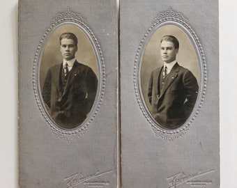 Pair of Original Antique Cabinet Card Photographs | Edward | 1916