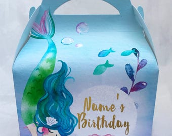 Watercolour Mermaids Personalised Children's Party Box Gift Bag Favour
