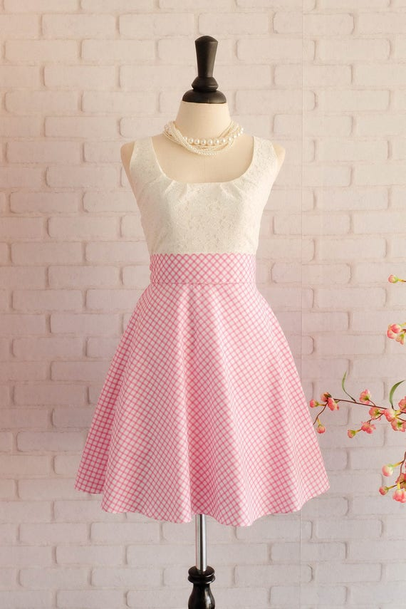 Rosa Kleid Rosa karierten Kleid Rosa Prom Kleid rosa Kleid