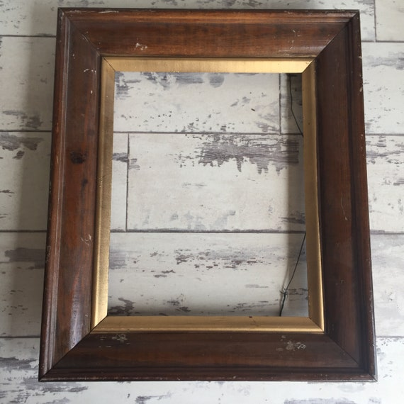 Vintage Wooden Frames 8 x 10 with Gold Trim - Distressed - With or ...