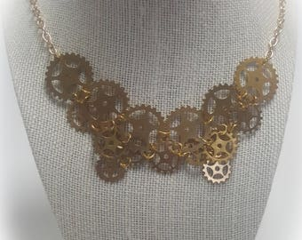 Suspended Gears Collar Necklace