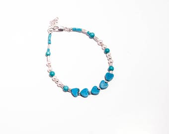 Turquoise heart bracelet, silver pearls and cultured pearls