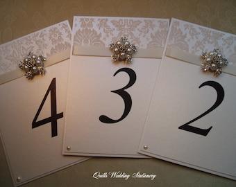 Luxury Wedding Table Number. Wedding Table Name. Pearl and Diamante Wedding.