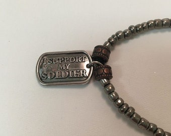 Military Support Stretch Bracelet - I Support My Soldier