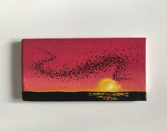 Deep pink sunset with murmuration (magnet)