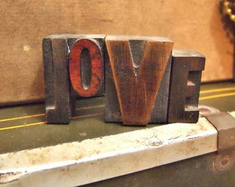 Free Shipping Letterpress block Letters spelling Love typography wedding wood type