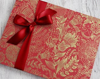 Wedding Guest Book, Bohemian Guest Book, Red Guest Book, Indian Wedding, Red Boho Floral, {MADE upon ORDER}