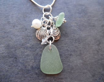 Sea Foam Sea Glass Necklace Charm Sea Beach Shell Jewelry