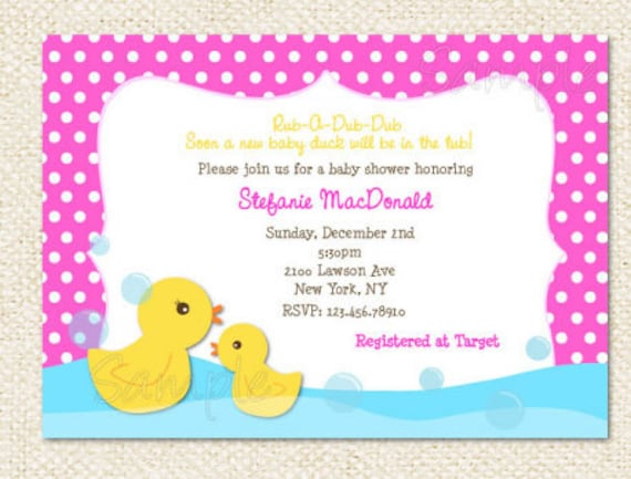 Rubber duck baby shower invitations filmwisefo Gallery