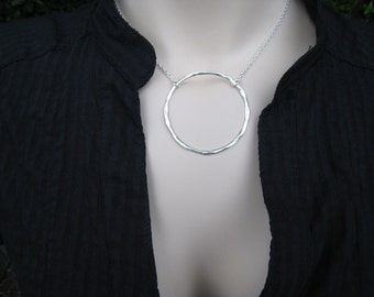 Large Silver Circle Necklace, Circle Silver Necklace, Circle Pendant Necklace, Sterling Silver Circle Necklace, Organic Circle Necklace