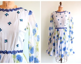 Vintage 1960's Blue Floral Sequin Party Dress | Size Small
