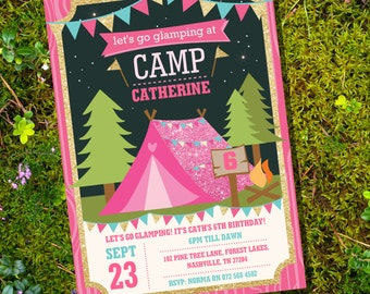 Glamping Party Invitation - Camp Out - Glamping Party - Glitter Invitation - Instant Download and Edit with Adobe Reader