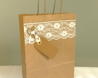 Gift bags etsy uk wedding gift bag burlap and lace shabby chic wedding favour bridal party presentation bag wedding shower kraft paper gift wrap uk negle Images