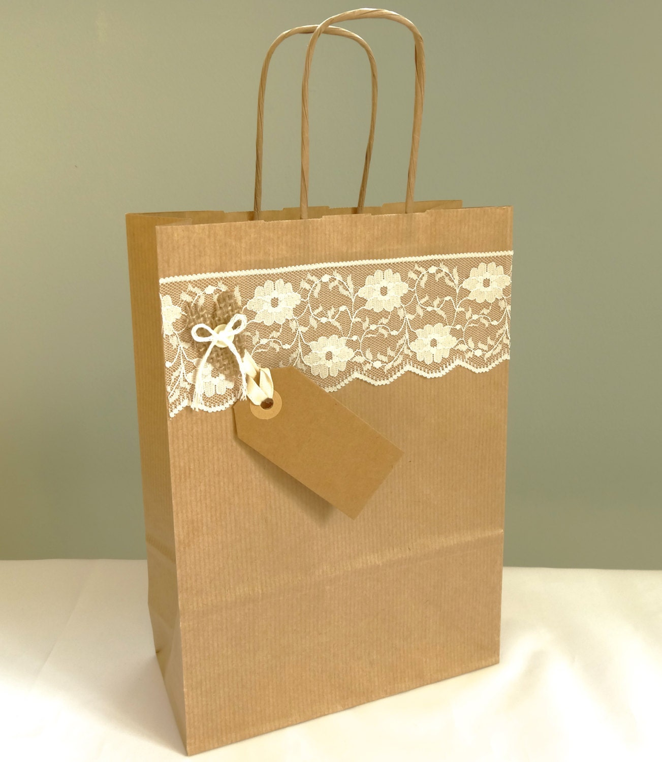 Wedding Gift Bag Burlap And Lace Shabby Chic Wedding Favour
