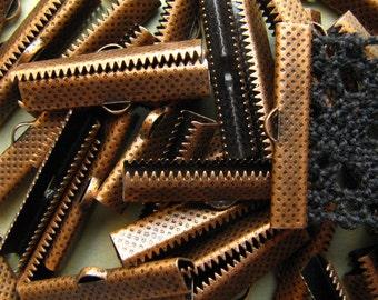 144 pieces 30mm or 1 3/16 inch Antique Copper Ribbon Clamp End Crimps
