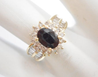 Sapphire Ring, Gold Ring, Vintage Ring, Natural Sapphire, Genuine 10K Yellow Gold 1.25 CTW Oval Cut Sapphire Diamond Ring #4502