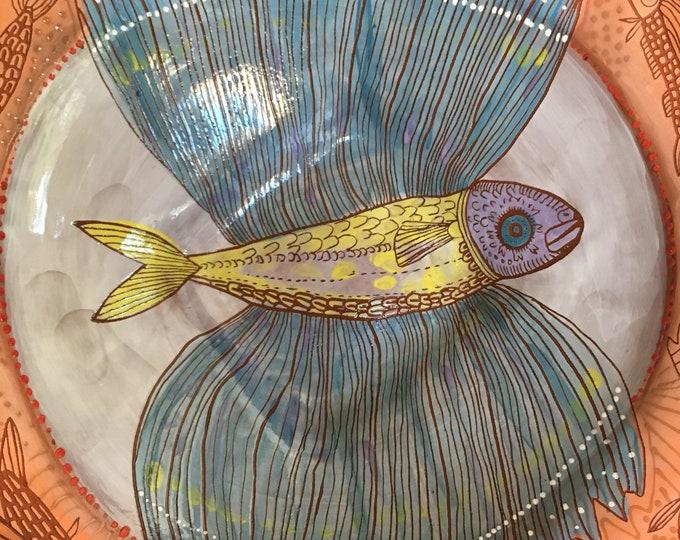 Large Ceramic Serving Bowl, terra cotta, flying fish, winged fish, housewarming gift