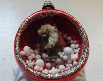 Vintage Christmas ornament red glass ornament diorama ornament wood putz house ornament bottle brush tree snow